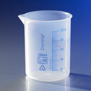 Vaso de precipitado de plástico reutilizable, 250ml, graduado, polipropileno, 6 uds.