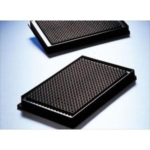 Microplaca 384 pocillos no tratada, volum. bajo, negra, fondo plano-transparente, sin tapa, no estéril, 50 Uds.