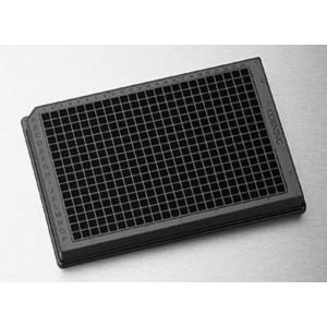 Microplaca 384 pocillos de poliestireno negro sin tratar, fondo plano, borde bajo, sin tapa, no estéril, 50 Uds.