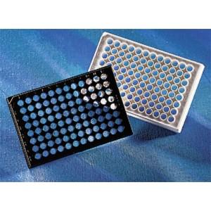 Microplaca 96 pocillos de poliestireno negro, fondo plano-transparente, adherencia alta, sin tapa, no estéril, 100 Uds.