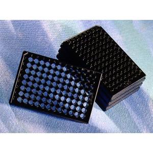 Microplaca 96 poc. de poliestireno negro de fondo plano transparente sin tratar, sin tapa, no estéril, 100 Uds.