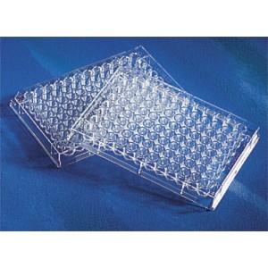 Microplaca 96 pocillos, transparente, fondo plano-transparente a UV, no tratada, sin tapa, no estéril, 50 Uds.