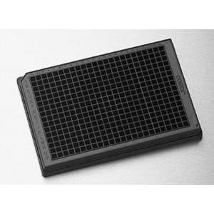 Microplaca 384 pocillos cuadrados de PP no tratado, fondo redondo, negra, sin tapa, no estéril, 100 Uds.