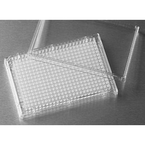 Microplaca 384pocillos de poliestireno transparente, fondo plano, no tratada, con tapa, no estéril, 100 Uds.