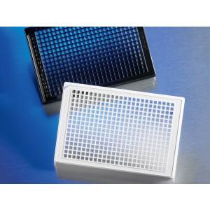 Microplaca 384 pocillos negra de PS, fondo plano transparente, borde bajo, sin tratar, sin tapa, no estéril, 100 Uds.