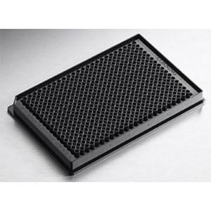 Microplaca 384 pocillos negra de poliestireno no tratado, fondo plano, volum.bajo, sin tapa, cód. barras, 50 Uds.
