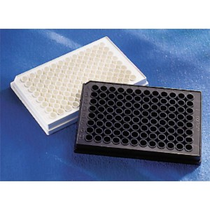 Microplaca 96 pocillos negra de poliestireno, fondo plano, adherencia alta, sin tapa, no estéril, 100 Uds.