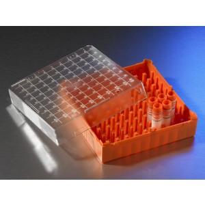 Caja de almacenaje para Crioviales de 1 - 2ml de policarbonato, capacidad 100 viales, 10 uds.