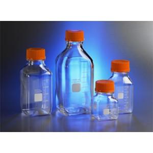 Botellas de almacenaje, cuadradas de policarbonato, 1000ml, con tapas de 45 mm, 24uds.