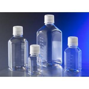Botellas de almacenaje, octogonal, 1000 ml, con tapón de rosca de 31,7 mm, estériles, 24 uds.