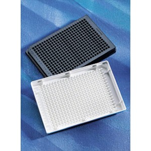 Microplaca 384 pocillos negra de PS no tratado, fondo redondo, volumen bajo, sin tapa, no estéril, 50 Uds.