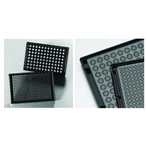 Microplaca 96 pocillos negra COC, media área, base baja y fondo óptico para imágenes alta calidad, con tapa, 20 Uds.