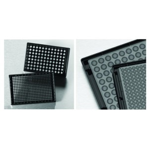 Microplaca 384 pocillos negra COC, base baja y fondo óptico para imágenes alta calidad, con tapa, 20 Uds.
