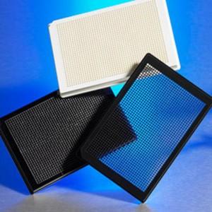 Microplaca 1536 pocillos negra COC no tratado, fondo transparente, base baja, sin tapa, no estéril con cód., 100 Uds.