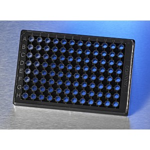 Microplaca 96 pocillos media área, fondo de vidrio para imágenes de alta calidad, con tapa, 10 Uds.