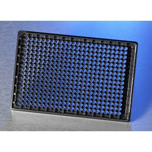 Microplaca 384 pocillos fondo de vidrio para imágenes de alta calidad, con tapa, 10 Uds.