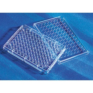 Microplaca 96 pocillos de poliestireno transparente sin tratar, fondo plano, sin tapa para EIA_RIA, 100 Uds.