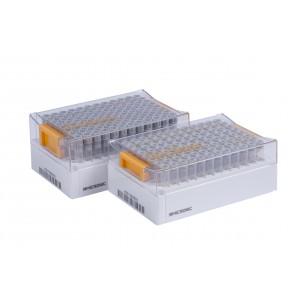 Tubos de relleno de 1.40ml, alfanuméricos, en V, formato 96 Tubos de Tapones de rosca, 5 bolsas de 10 rellenos