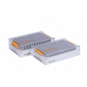 Rack Micronic 96-2, high cover para tubos tapados con, tapón de rosca, vacío, barcoded, 4 bolsas de 10 racks