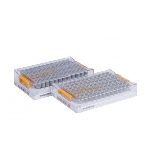 Tubos de 0.50ml, codificados 2D, en V, Tapones rosca, en Micronic 96-1, high cover, barcoded, 4 bolsas de 10 racks