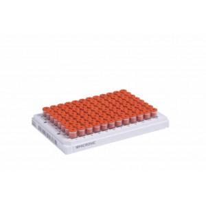 Tubos de 0,30 ml codificados 2D Data-Matrix de rosca externa con fondo en Vr, en rack Micronic 96-1 (A1-H1)
