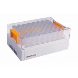 Tubos de 4 ml de rosca externa codificados 2D Data-Matrix con fondo plano, en bolsa
