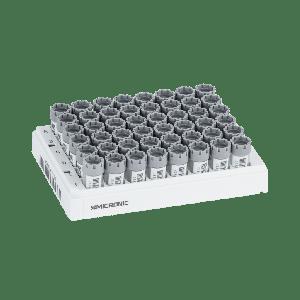 Tubos híbridos (W00) de 2 ml de rosca externa codificados 2D Data-Matrix de fondo plano, en rack Micronic 48-2 high cov.