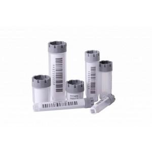 Tubos híbridos (W00) de 3 ml de rosca externa codificados 2D Data-Matrix de fondo plano, en bolsa