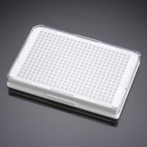 Microplaca 384 pocillos blanca tratada TC recubierta colágeno I, fondo plano transparente, tapa, no estéril, 5 Uds.