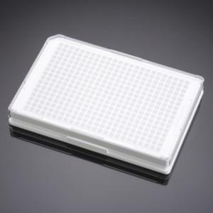 Placa Biocoat 384 pocillos, blanca, fondo plano,tratada TC, recubierta colageno I, tapa, no estéril, 5 uds.