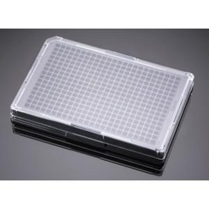 Microplaca 384 pocillos negra tratada TC recubierta colágeno I, fondo plano transparente, tapa, no estéril, 5 Uds.