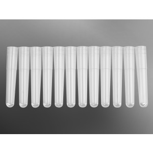 Mini tubos 1,1ml en tira de 12, polipropileno, transparente, en rack, estéril, 400 uds.
