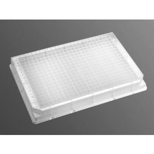 Microplaca 384 pocillos, fondo en V, profundidad 120µl,polipropileno, no tratada, transparente,no estéril 50Uds.
