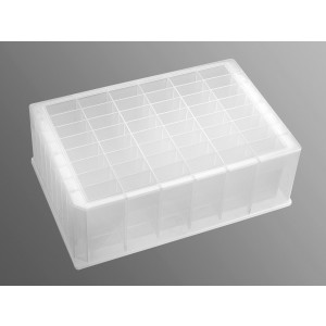 Placa deepwell 48 pocillos rectangulares de 5 ml con fondo en V de PP transparente, estéril, 25 Uds.
