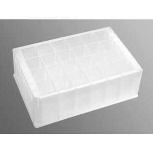 Placa 24 pocillos con fondo en V, rectangular, sin tapa, pocillo profundo, 10 ml estéril, 25 Uds.