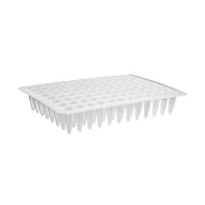 Microplaca PCR 96 pocillos, polipropileno, sin faldón, superficie plana, transparente, no estéril, 100Uds.