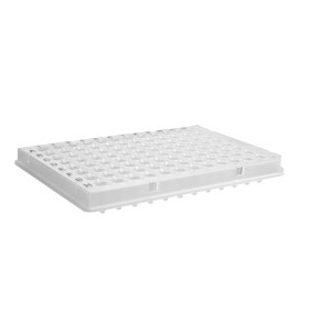 Microplaca PCR 96 pocillos,medio faldón,codificada H1-H12,perfil bajo,transparent,compatible con ABI,no estéril,100Ud