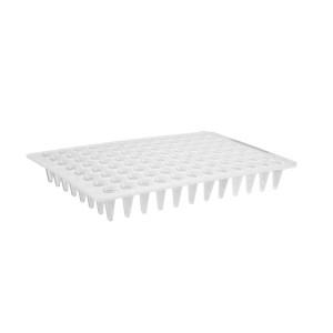 Microplaca PCR 96 pocillos de polipropileno sin faldón, superficie plana, bajo perfil, blanca, no estéril, 100 Uds.