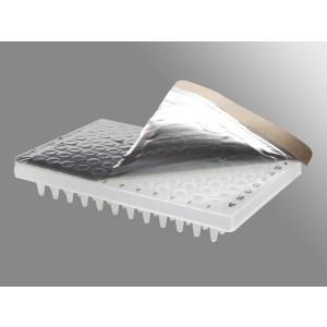 Película de sellado de aluminio para placa PCR, 50 µm, reflectante, no estéril, 500 uds.