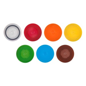 Tapones de rosca de polipropileno con O-ring azul sin bucles, no estériles. 500 Tapones_pack, 8 Packs_caja