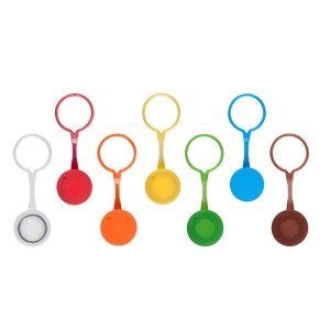 Tapones rosca para tubos de microcentrífuga con O-ring, polipropileno, amarillo,no estéril,500 tapones_Pack,8Packs_Caja