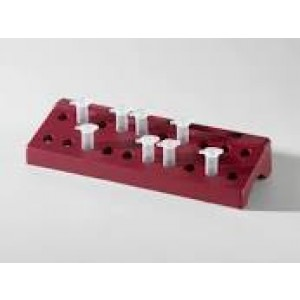 Rack de polipropileno de soporte para 20 criotubos de 1.5 ml de color rojo (210 x 75 x 35mm)