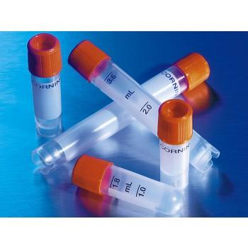 Crioviales de polipropileno de 2 ml de rosca externa y fondo redondo, 500 Uds.